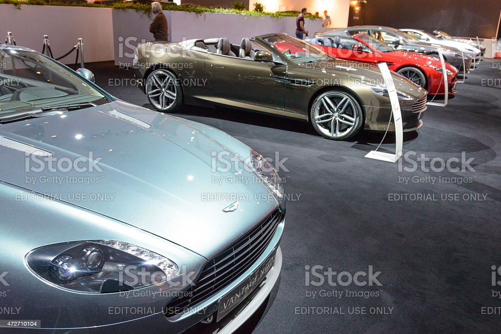 Aston Martin motor show stand with sports cars on display stock photo