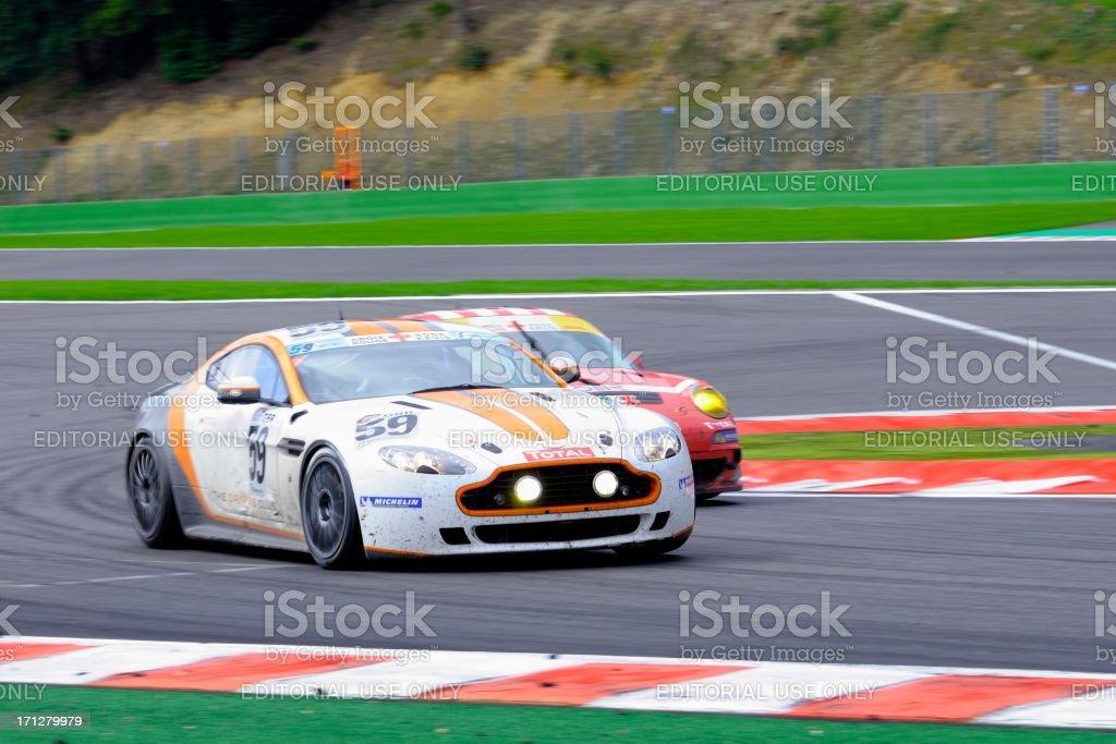 Aston Martin V8 Vantage GT4 race car stock photo