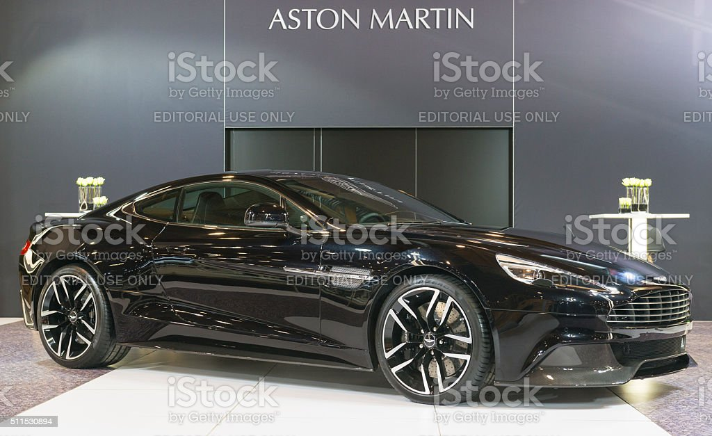 Aston Martin Vanquish coupe sports car stock photo