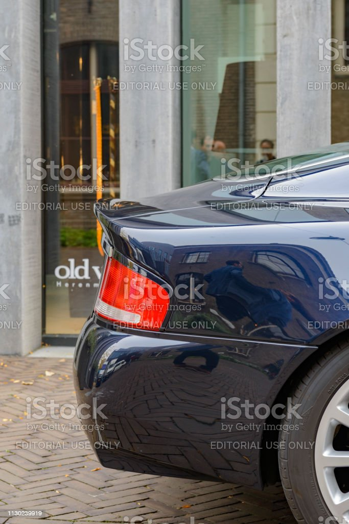 Aston Martin Vanquish sports car rear end detail stock photo