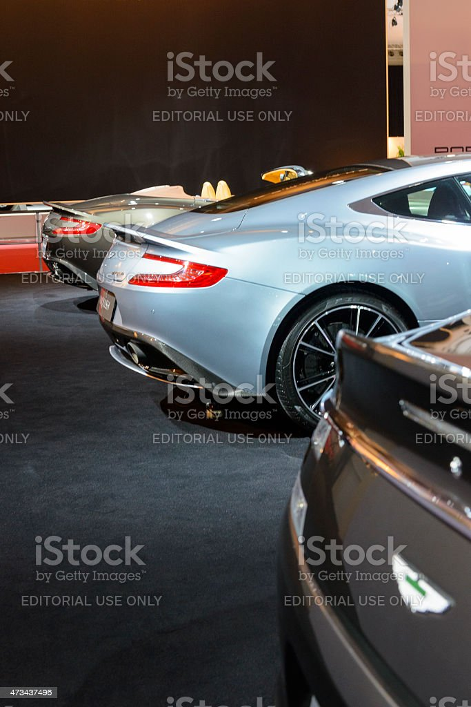 Aston Martin Vanquish sports car rear view stock photo