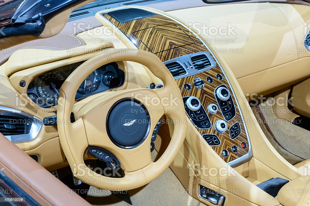 Aston Martin Vanquish Volante convertible sports car interior stock photo