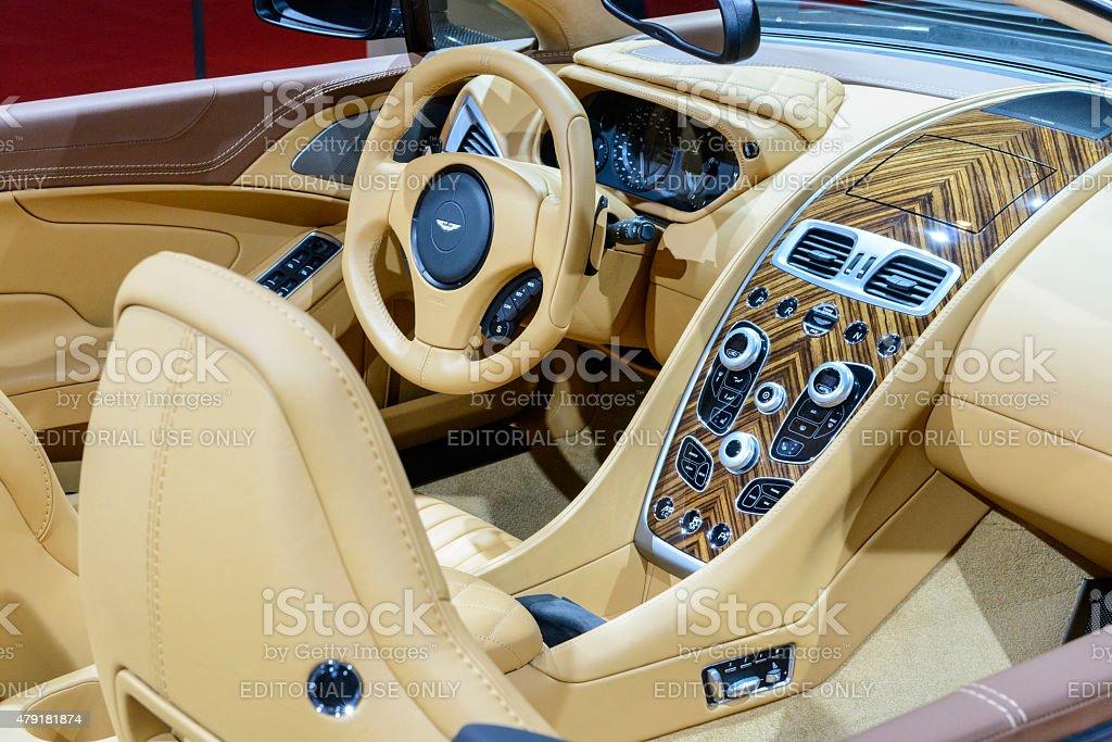 Aston Martin Vanquish Volante Convertible Sports Car Interior Stock