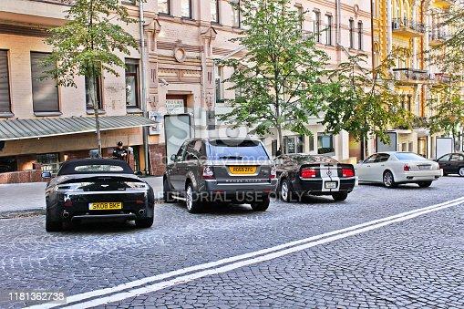 September 3, 2012, Kiev, Ukraine; Aston Martin Vantage Volante & Ford Mustang & Maserati Quattroporte