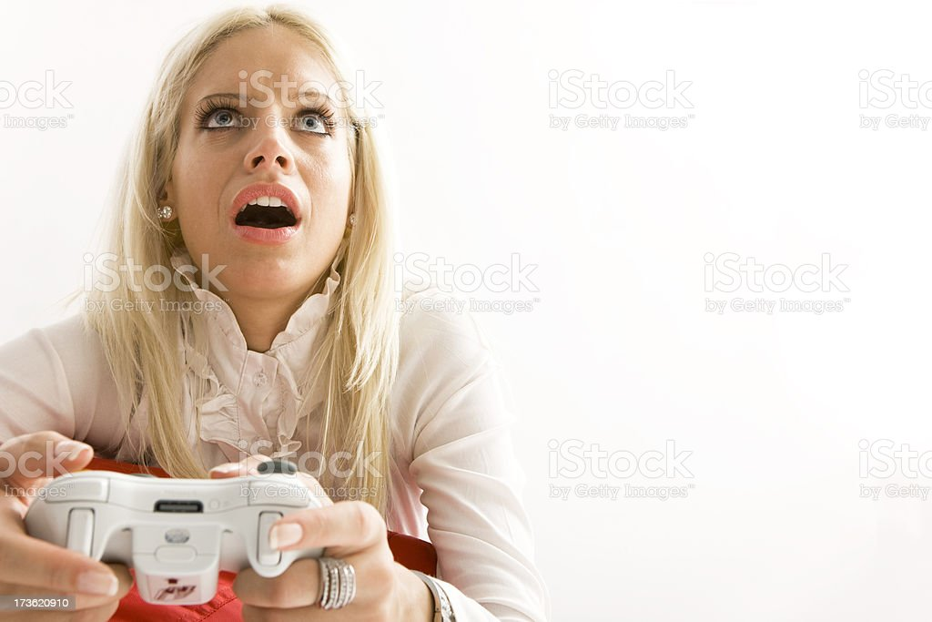 Astonished Woman Playing Video Game Stock Photo More Pictures Of