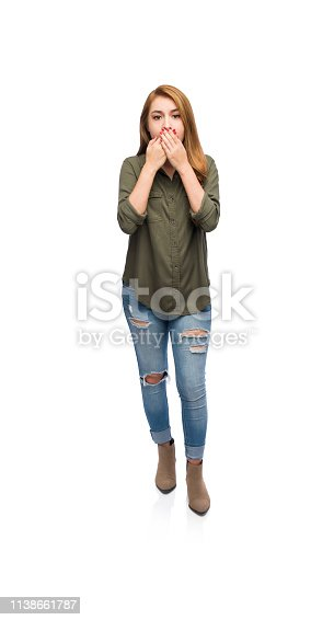 Full body length picture of an astonished young woman covering her mouth.