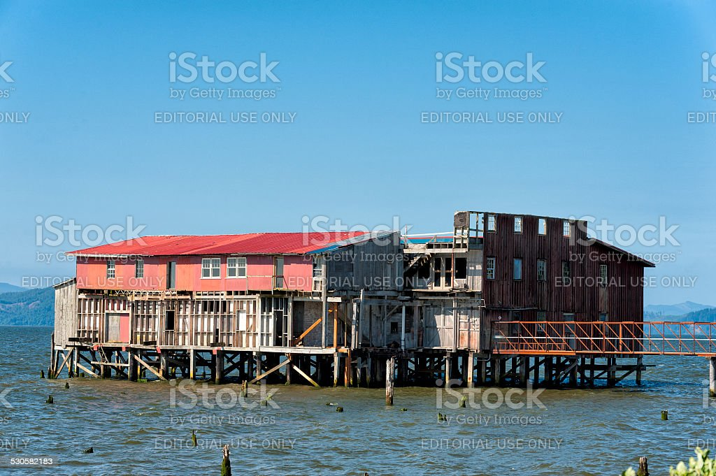 Astoria's historical Big Red on the Columbia River stock photo