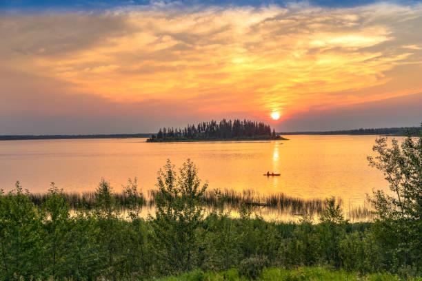 Astotin Lake at the Elk Island National Park stock photo