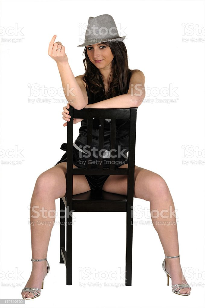 Astride a Chair stock photo