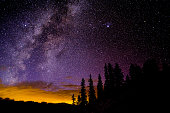 Astro Landscape with Stars and Milky Way Galaxy - Sky at night with clear sky of stars and glow in distance from sunset.