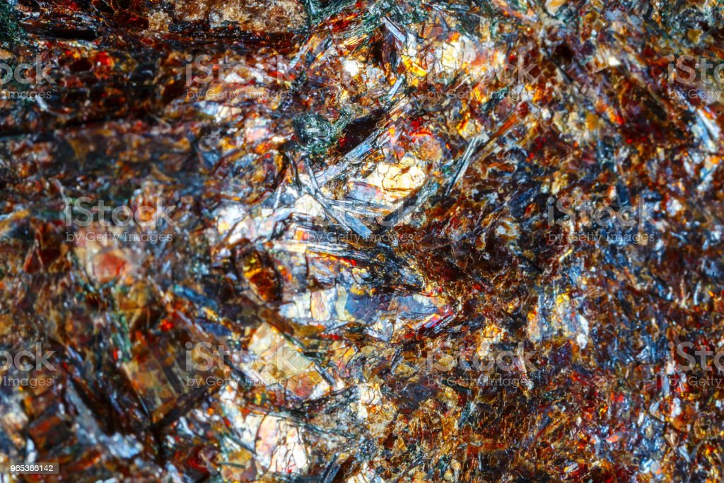 Astrofillit mineral Khibiny Mountains. The texture of the mineral. Macro shooting of natural gemstone. The raw mineral. Abstract background zbiór zdjęć royalty-free