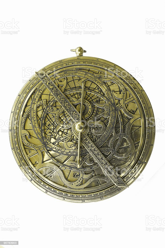 Astrolabio sobre fondo blanco - foto de stock