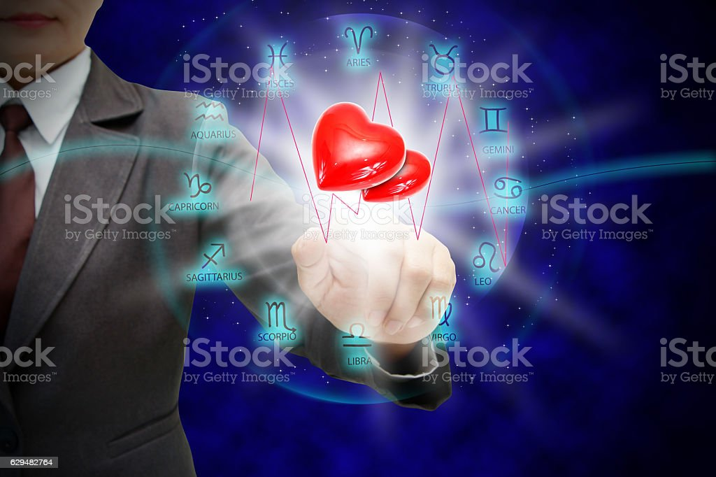 Astrologer woman's touch stock photo