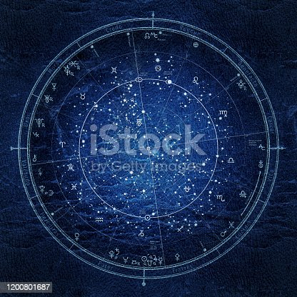 Astrological Celestial Map of The Northern Hemisphere. The General Global Universal Horoscope on January 1, 2020 (00:00 GMT). Detailed Night Sky Chart, Ultraviolet Blueprint (grunge vintage remake).