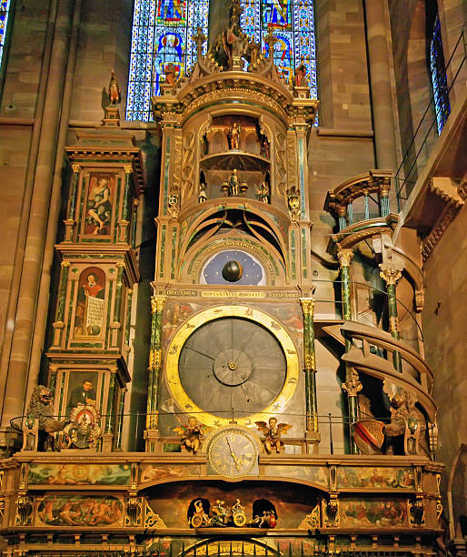 Astrological clock Strasbourg, France - August 6, 2008: Ancient astrological clock in Strasbourg Cathedral. astronomical clock stock pictures, royalty-free photos & images