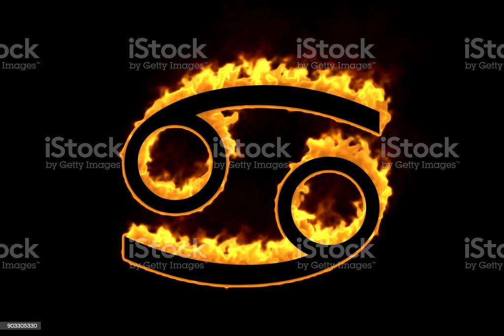 Astrological sign Cancer burning on black background stock photo