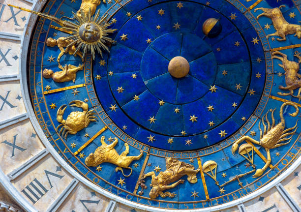 Astrological signs on ancient clock Torre dell'Orologio, Venice, Italy. Medieval Zodiac wheel and constellations. stock photo