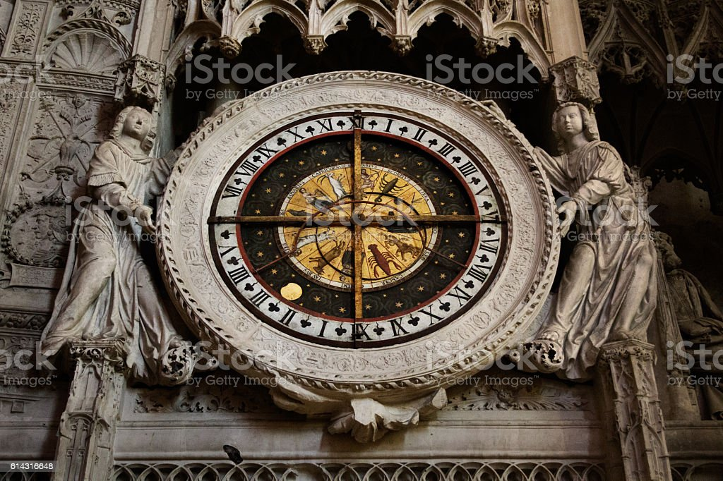 Astrological Wheel in Chartres stock photo