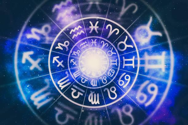 astrological zodiac signs inside of horoscope circle - astrologia imagens e fotografias de stock