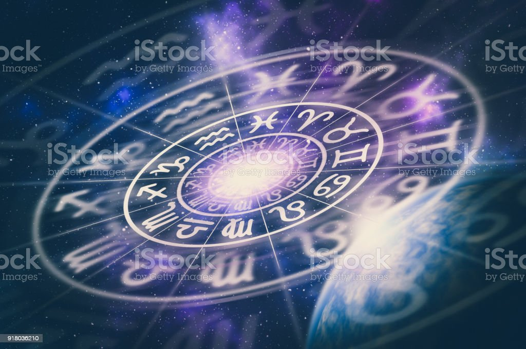 Astrological zodiac signs inside of horoscope circle royalty-free stock photo