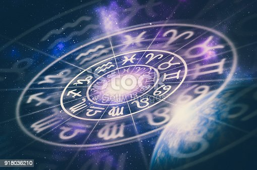 istock Astrological zodiac signs inside of horoscope circle 918036210