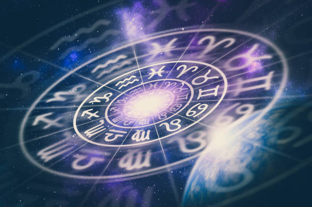 Astrological zodiac signs inside of horoscope circle stock photo