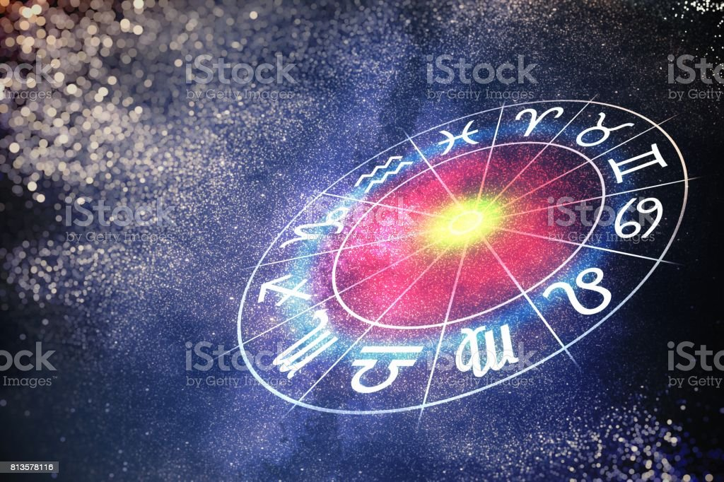 Astrology and horoscopes concept. 3D rendered illustration of zodiac signs in circle. стоковое фото