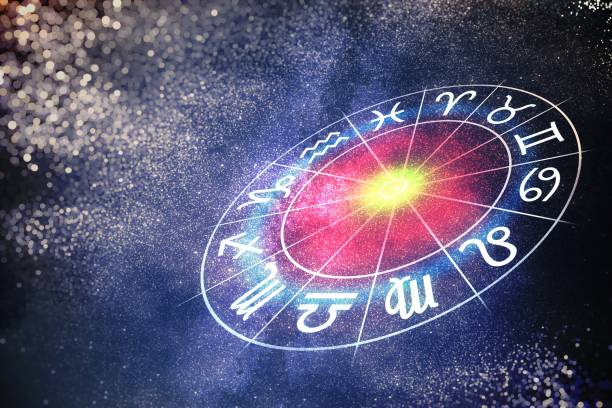 Astrology and horoscopes concept. 3D rendered illustration of zodiac signs in circle. stock photo