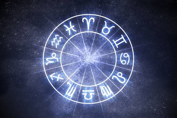 Astrology and horoscopes concept. Astrological zodiac signs in circle on starry background. stock photo
