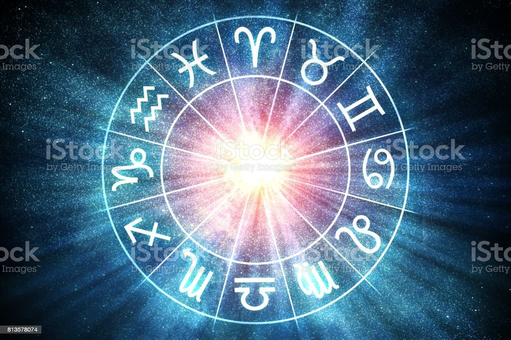 Astrology and horoscopes concept. Zodiac signs in circle. 3D rendered illustration. stock photo