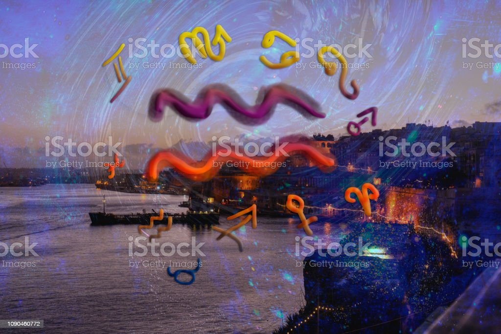 Astrology and zodiac signs, aquarius sign stock photo