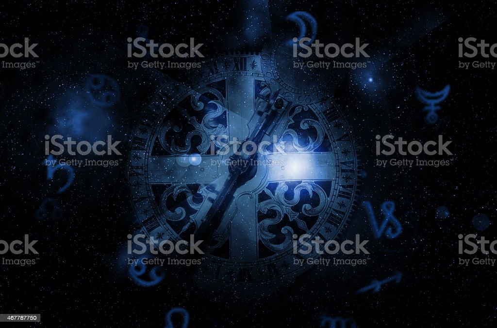 astrology clock stock photo