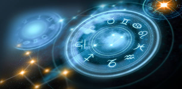 astrology horoscope background - alchemie symbole stock-fotos und bilder