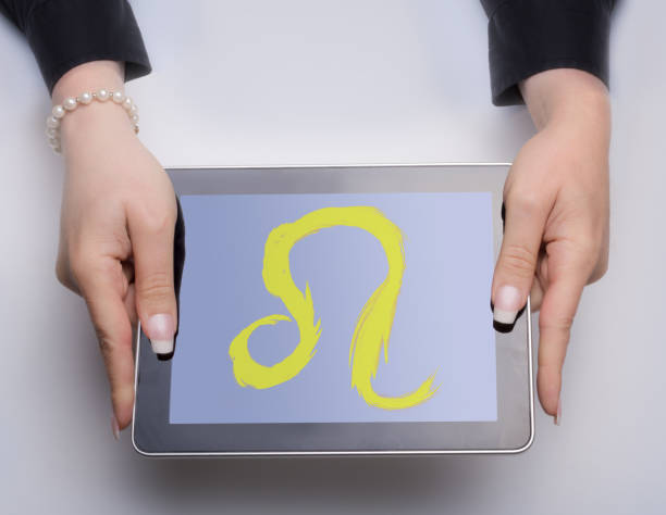 Astrology Sign leo on digital tablet stock photo