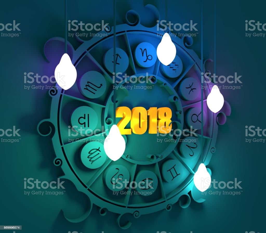 Astrology symbols in circle. stock photo