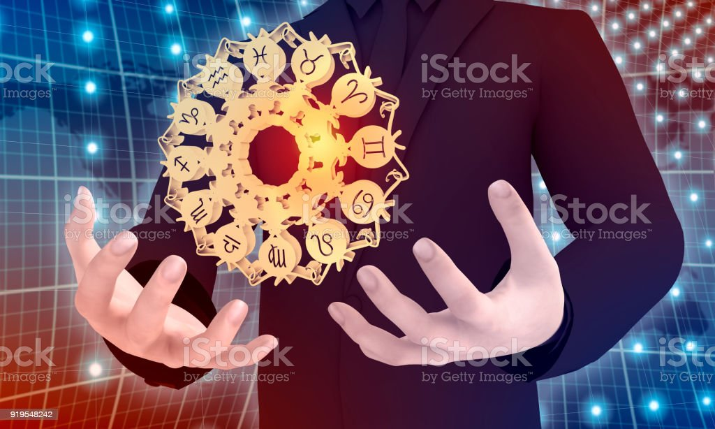 Astrology symbols in circle stock photo