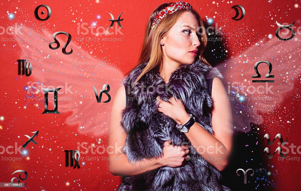 Astrology, twelve zodiac signs, the woman in esoterics royalty-free stock photo