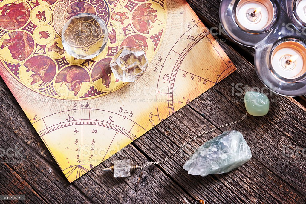 Astrology with crystals stock photo