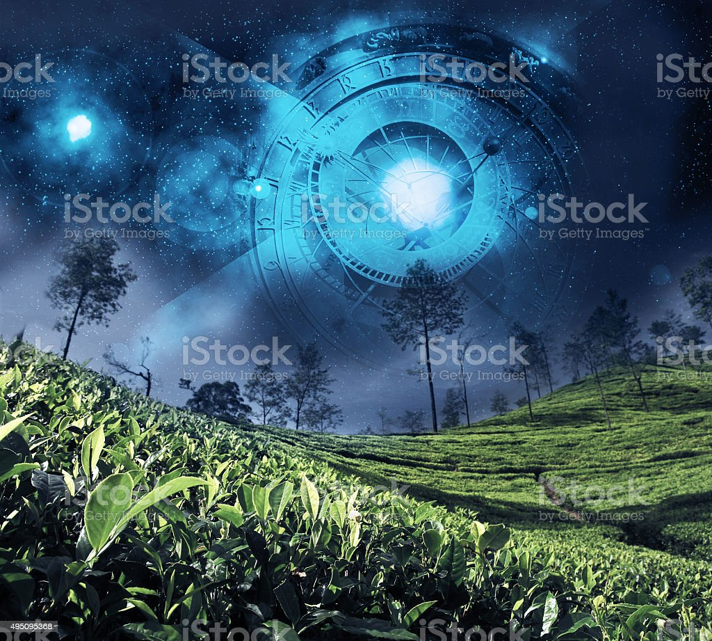 astrology zodiac on the night sky stock photo
