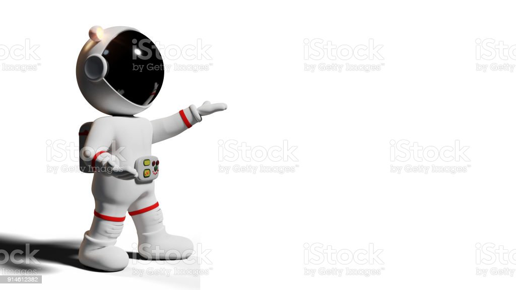 astronaut, 3d cartoon character presenting an empty space (3d rendering isolated on white background) stock photo