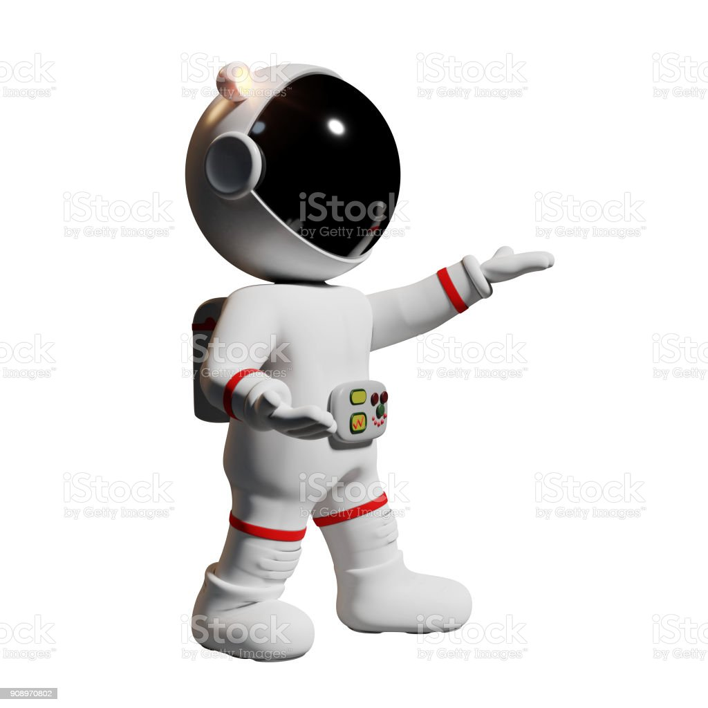 astronaut, 3d cartoon character presenting (3d rendering isolated on white background) stock photo