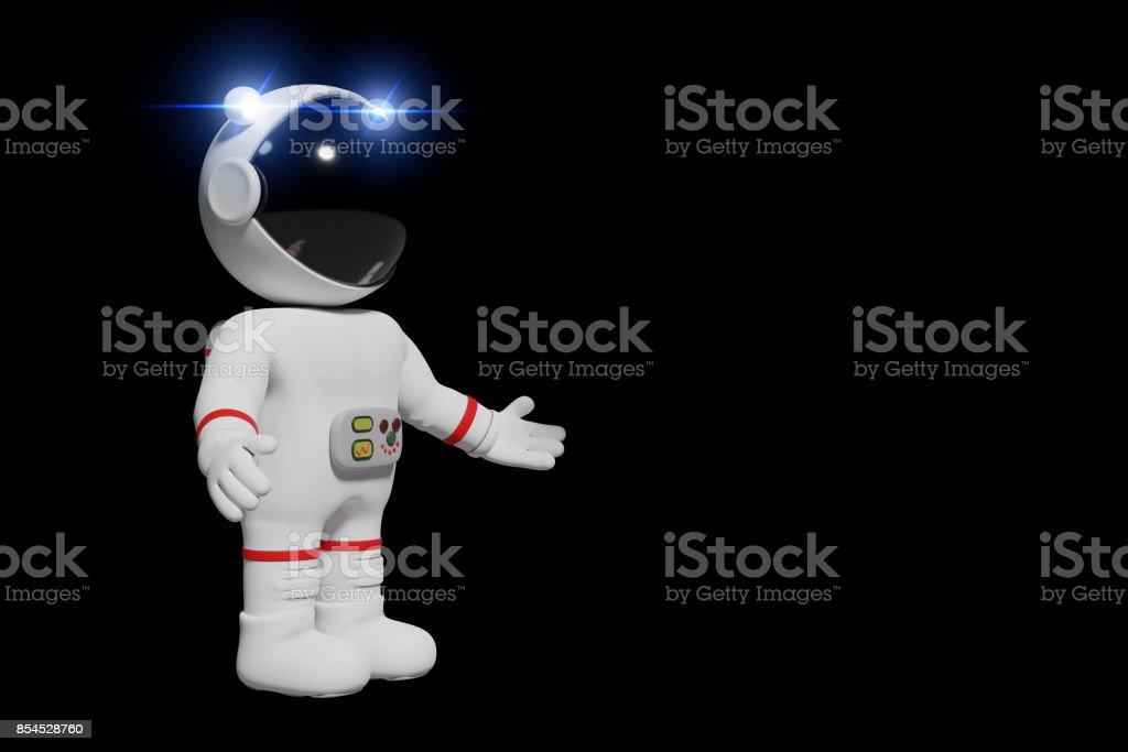 astronaut, 3d cartoon man presenting (3d illustration isolated on black background) stock photo