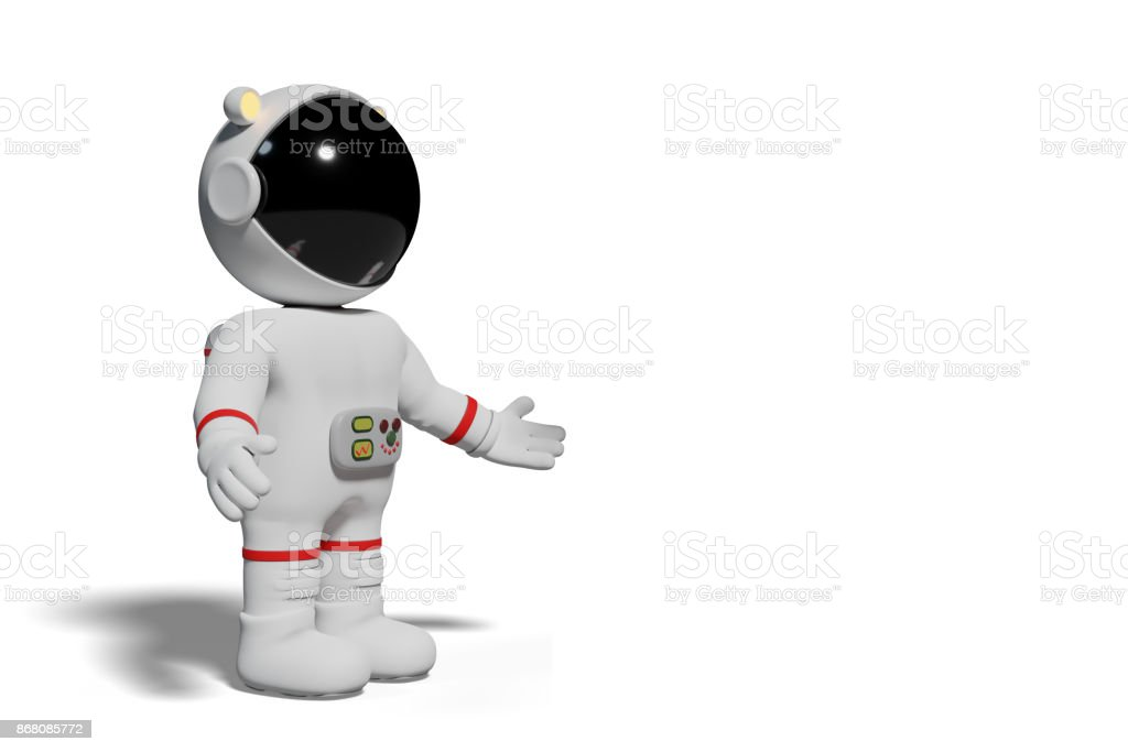 astronaut, 3d cartoon man presenting (3d illustration isolated with shadow on white background) stock photo