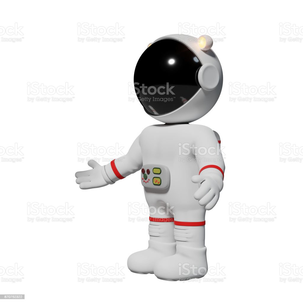 astronaut, 3d cartoon man presenting (3d illustration isolated on white background) stock photo