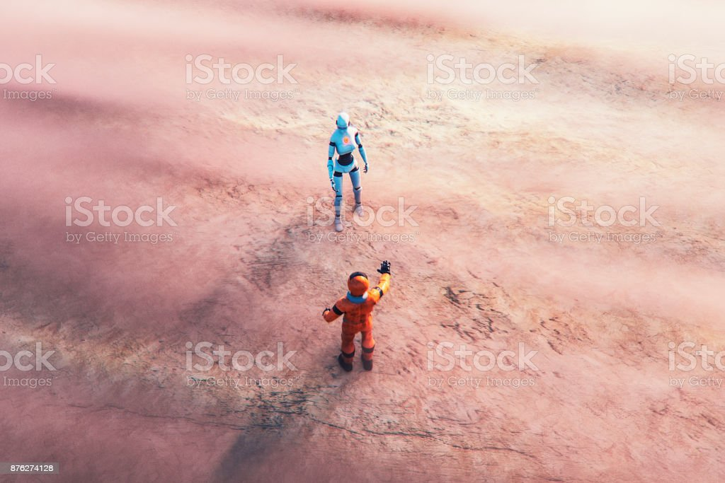 Astronaut and alien cyborg in foggy landscape - foto stock