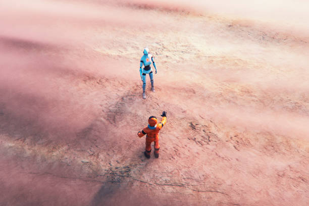 Astronaut and alien cyborg in foggy landscape - foto stock