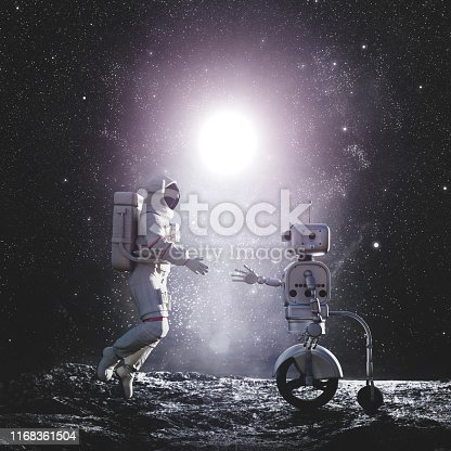 Astronaut and robot or artificial intelligence handshake on alien planet. 3D Illustration.