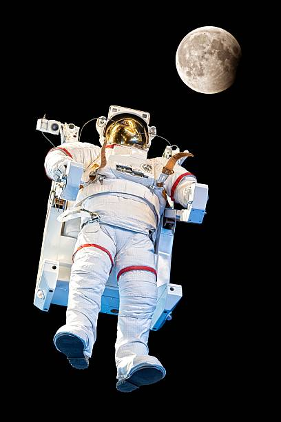 Astronaut and the moon stock photo