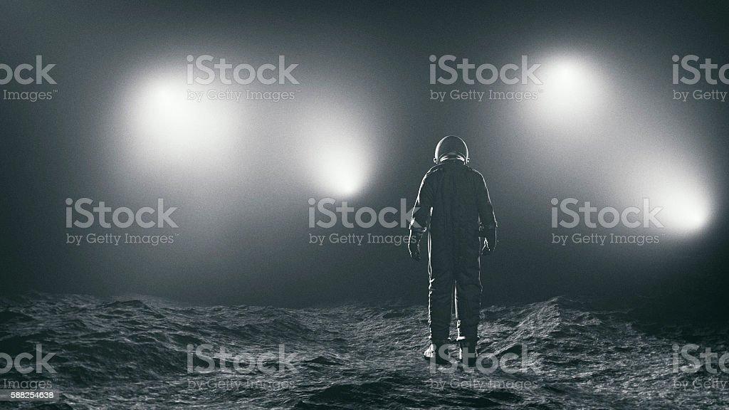 Astronaut and the mysterious lights - Royaltyfri Astronaut Bildbanksbilder