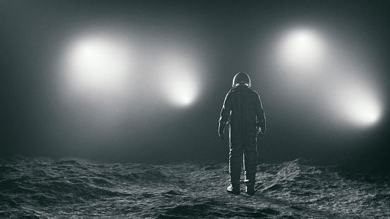 Astronaut And The Mysterious Lights-foton och fler bilder på Astronaut
